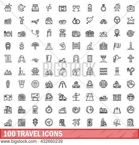 100 Travel Icons Set. Outline Illustration Of 100 Travel Icons Vector Set Isolated On White Backgrou