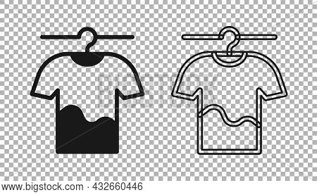 Black Drying Clothes Icon Isolated On Transparent Background. Clean Shirt. Wash Clothes On A Rope Wi