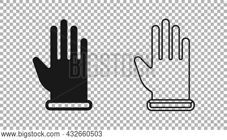 Black Rubber Gloves Icon Isolated On Transparent Background. Latex Hand Protection Sign. Housework C
