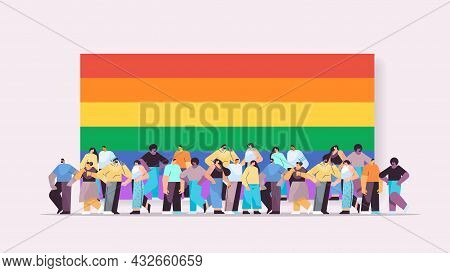 Mix Race People Group Standing Together Near Lgbt Rainbow Flag Gay Lesbian Love Parade Pride Festiva