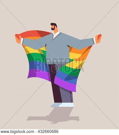 Man Holding Lgbt Rainbow Flag Gay Lesbian Love Parade Pride Festival Transgender Love Concept Full L