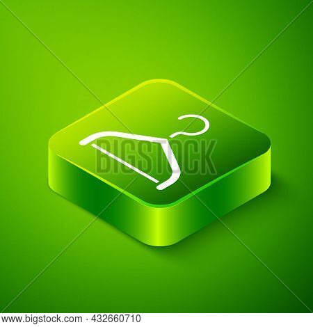 Isometric Hanger Wardrobe Icon Isolated On Green Background. Cloakroom Icon. Clothes Service Symbol.