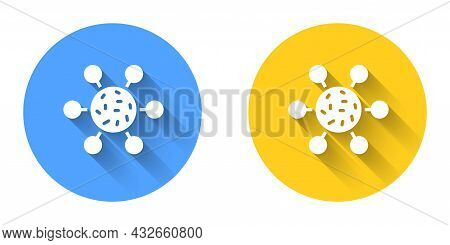 White Bacteria Icon Isolated With Long Shadow Background. Bacteria And Germs, Microorganism Disease