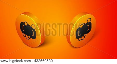 Isometric Bar Of Soap Icon Isolated On Orange Background. Soap Bar With Bubbles. Orange Circle Butto