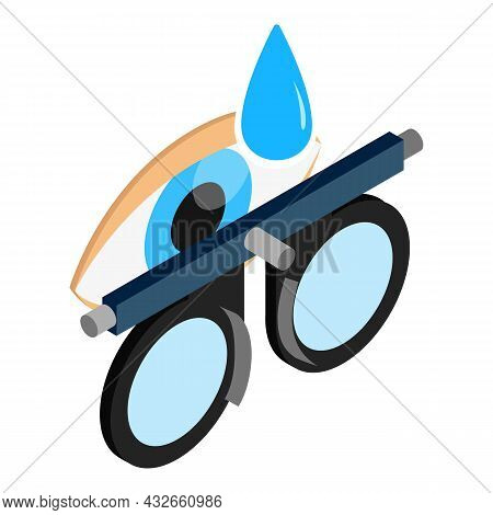 Check Vision Icon Isometric Vector. Trial Frame, Open Human Eye And Blue Drop. Optometrist Equipment