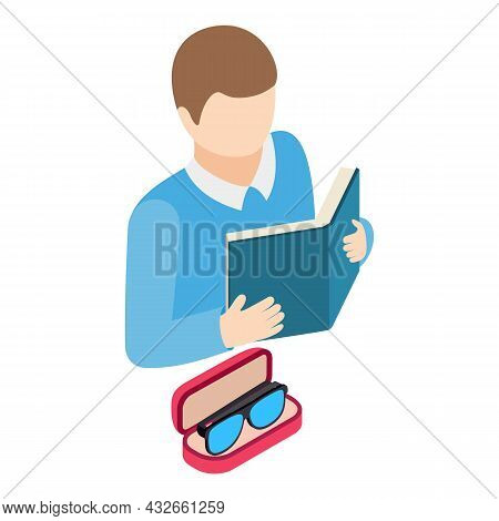 Optical Accessory Icon Isometric Vector. Reading Man And Glasses In Case Icon. Optics, Eye Health, O
