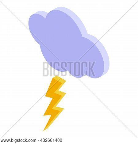 Thunderstorm Cloud Icon Isometric Vector. Rain Weather. Forecast Storm