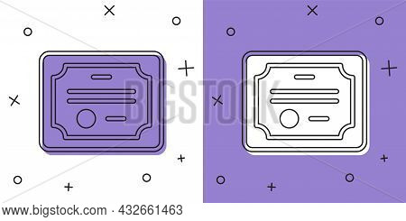 Set Certificate Template Icon Isolated On White And Purple Background. Achievement, Award, Degree, G