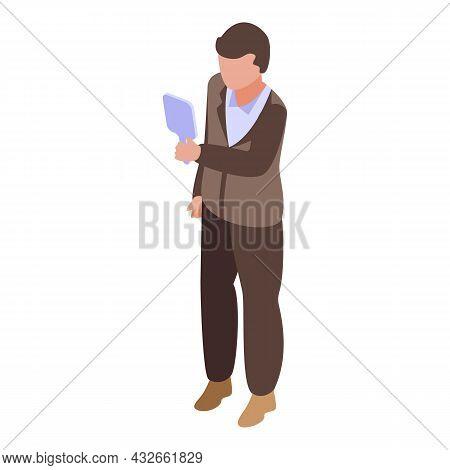 Egoist Man Icon Isometric Vector. Egocentric Boss. Selfish People