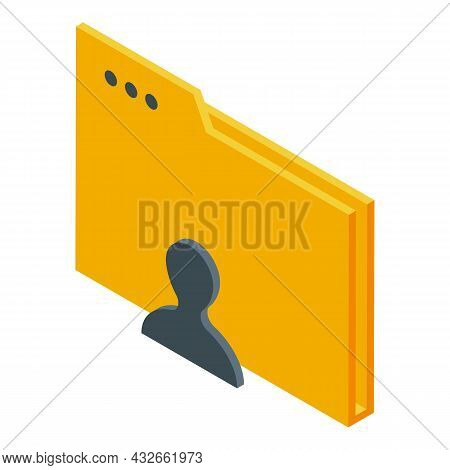 Anonymous Folder Icon Isometric Vector. Man Person. Unknown Mystery