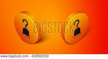 Isometric Pirate Hook Icon Isolated On Orange Background. Happy Halloween Party. Orange Circle Butto