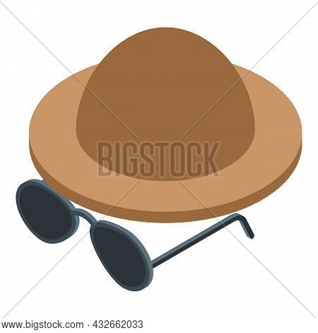 Mystery Hat Icon Isometric Vector. Anonymous Man. User Character