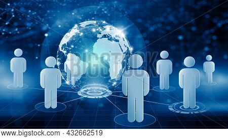 Global Business And Networking People With Technology Background. Global Communication Network And N