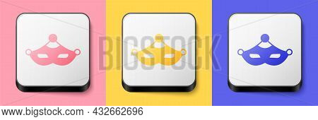 Isometric Carnival Mask Icon Isolated On Pink, Yellow And Blue Background. Masquerade Party Mask. Sq