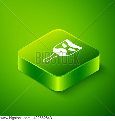 Isometric Carnival Mask Icon Isolated On Green Background. Masquerade Party Mask. Green Square Butto