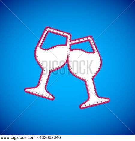 White Wine Glass Icon Isolated On Blue Background. Wineglass Sign. Vector