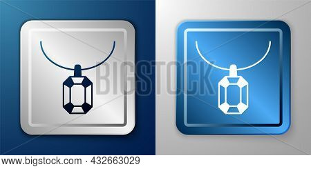 White Pendant On Necklace Icon Isolated On Blue And Grey Background. Silver And Blue Square Button.