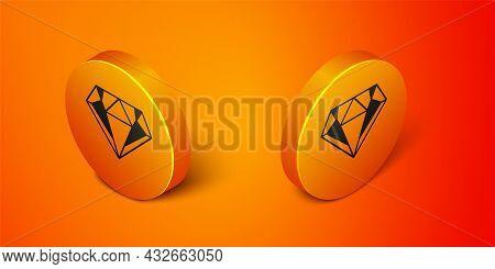 Isometric Diamond Icon Isolated On Orange Background. Jewelry Symbol. Gem Stone. Orange Circle Butto