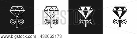 Set Stud Earrings Icon Isolated On Black And White Background. Jewelry Accessories. Vector