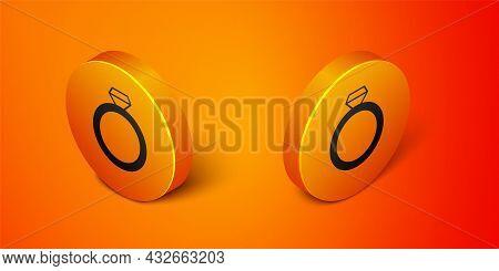 Isometric Diamond Engagement Ring Icon Isolated On Orange Background. Orange Circle Button. Vector
