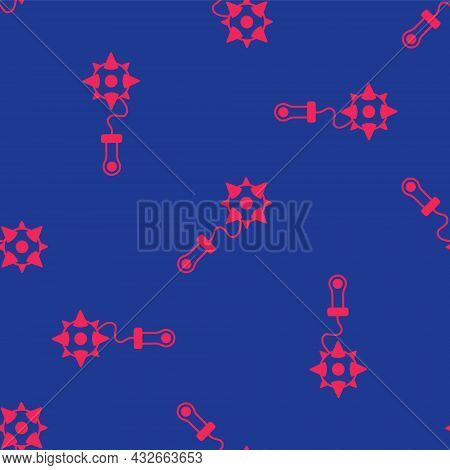 Red Medieval Chained Mace Ball Icon Isolated Seamless Pattern On Blue Background. Morgenstern Mediev