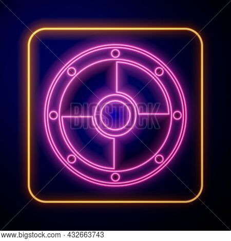 Glowing Neon Round Wooden Shield Icon Isolated On Black Background. Security, Safety, Protection, Pr