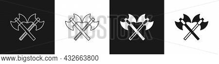 Set Crossed Medieval Axes Icon Isolated On Black And White Background. Battle Axe, Executioner Axe.