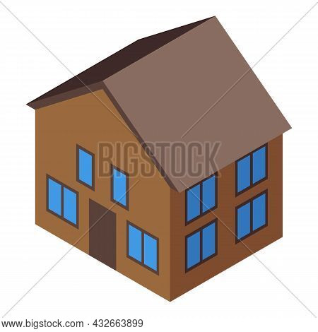 It House Icon Isometric Vector. Home Building. Residential Room