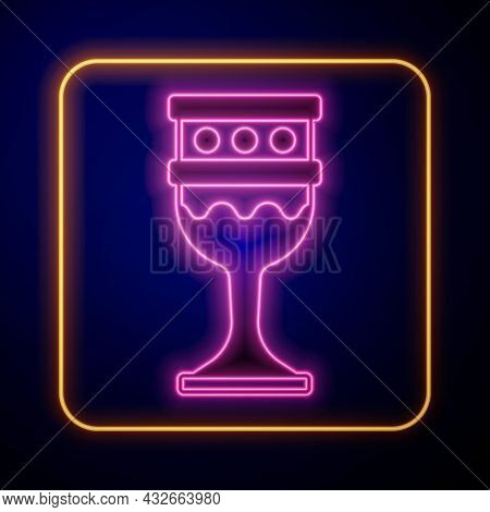 Glowing Neon Medieval Goblet Icon Isolated On Black Background. Holy Grail. Vector