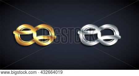 Gold And Silver Nautical Rope Knots Icon Isolated On Black Background. Rope Tied In A Knot. Long Sha