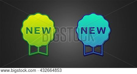 Green And Blue Price Tag With An Inscription New Icon Isolated On Black Background. Badge For Price.