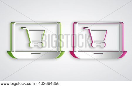Paper Cut Shopping Cart On Screen Laptop Icon Isolated On Grey Background. Concept E-commerce, E-bus