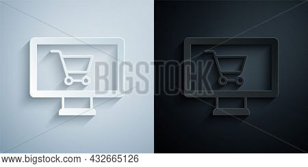 Paper Cut Shopping Cart On Monitor Icon Isolated On Grey And Black Background. Concept E-commerce, E