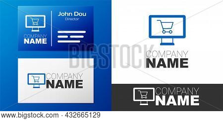 Logotype Shopping Cart On Monitor Icon Isolated On White Background. Concept E-commerce, E-business,
