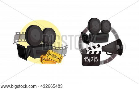 Cinema Elements With Camera And Clapperboard Vector Composition Set