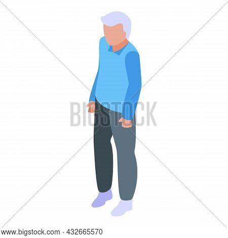 Senior Man Icon Isometric Vector. Old People. Happy Grandfather