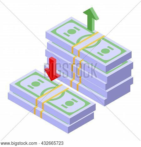 Money Cash Pack Icon Isometric Vector. Stack Pile. Dollar Bill