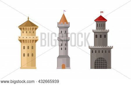 Medieval Castle Tall Tower Or Turret Made Of Stone Vector Set