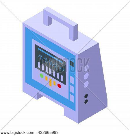 Aed Defibrillator Icon Isometric Vector. Cardiac Heart. Cpr Emergency