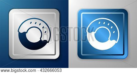 White Donut With Sweet Glaze Icon Isolated On Blue And Grey Background. Silver And Blue Square Butto