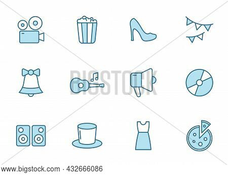 Party Outline Vector Icons In Two Colors Isolated On White Background. Birthday Party Celebration Bl