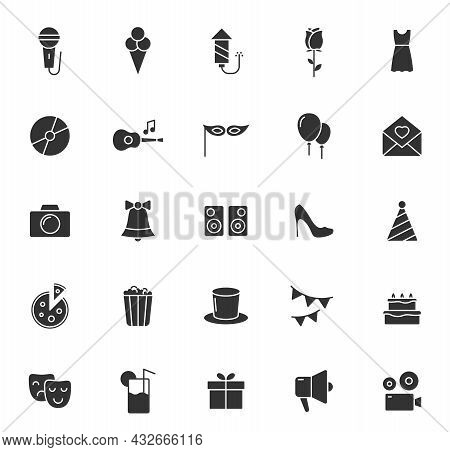 Party Silhouette Vector Icons Isolated On White Background. Party Celebration Icon Set For Web, Mobi