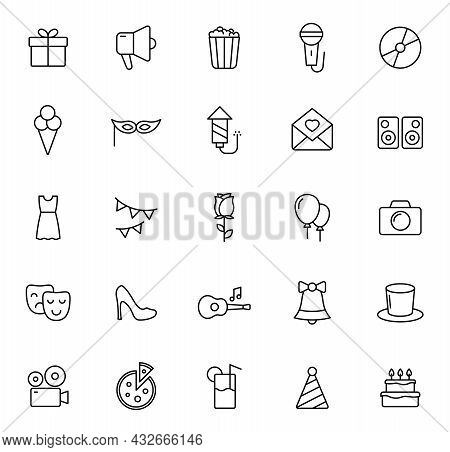 Party Outline Vector Icons Isolated On White Background. Party Celebration Icon Set For Web And Ui D