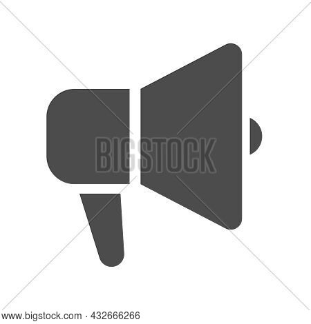 Loud Hailer Silhouette Vector Icon Isolated On White Background. Megaphone Icon For Web, Mobile Apps