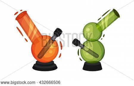 Bong Or Water Pipe As Filtration Device Used For Smoking Cannabis Vector Set