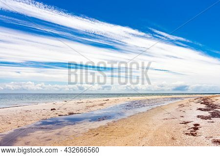 Wild Beautiful Beach On The Dzharylgach Island In The Black Sea.