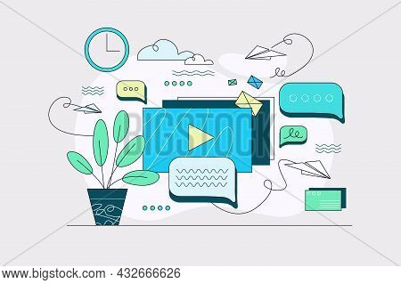 Incoming Business Messages On Pc Vector Illustration. Email Notification, Unread Letters Linear. Cor