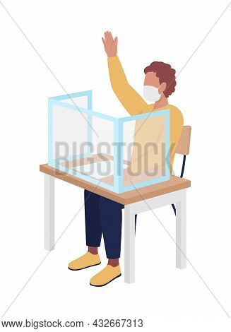 Student Boy In Mask At Lesson Semi Flat Color Vector Character. Schoolboy Figure. Full Body Person O