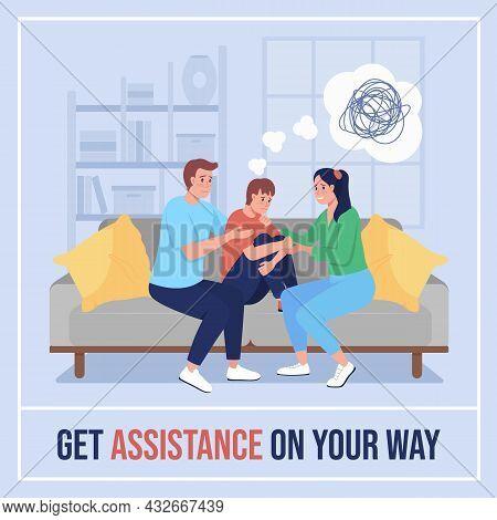 Teen Mental Health Social Media Post Mockup. Get Assistance On Your Way Phrase. Web Banner Design Te