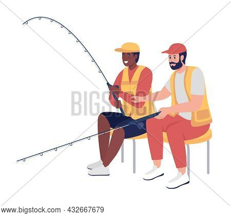 Men Fishing Together Semi Flat Color Vector Character. Sitting Figures. Full Body People On White. R